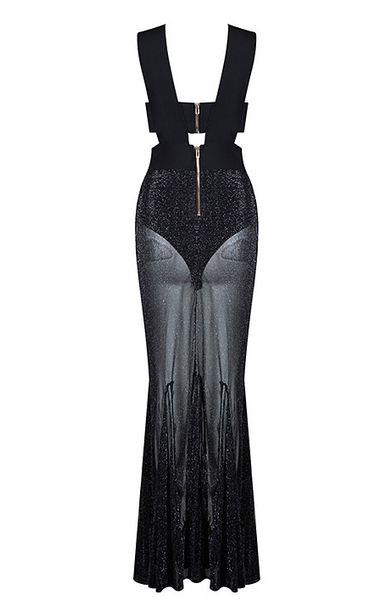 Elvie Black Bandage and Sheer Dress