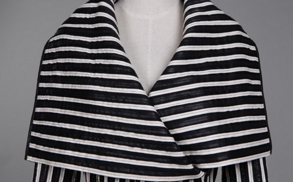 Slay Accessories. Leather black and white stripe coat. Leather wrap coat.