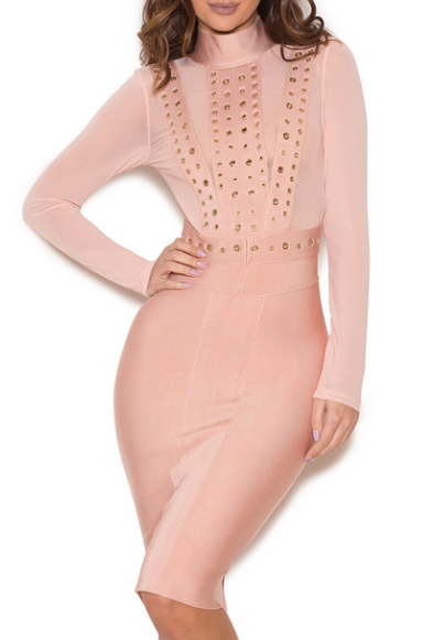 Fahtima Blush Grommet Bandage Dress