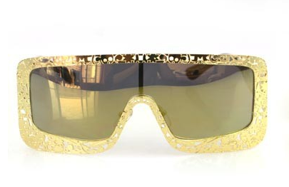 Metal Filigree Frame Oversized Sunglasses