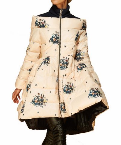 Slay Accessories. Flower puffer coat. Floral skirt jacket. Stylish hi low down coat.