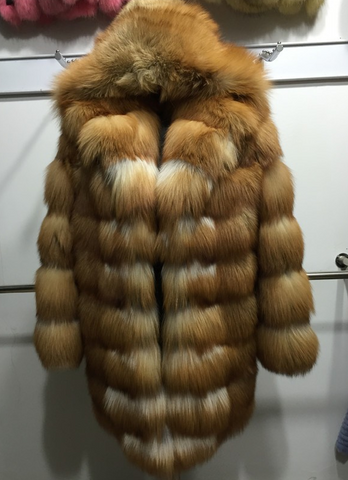 Slay Accessories. Luxury Fur hooded coat. Fur coat with fur hood.