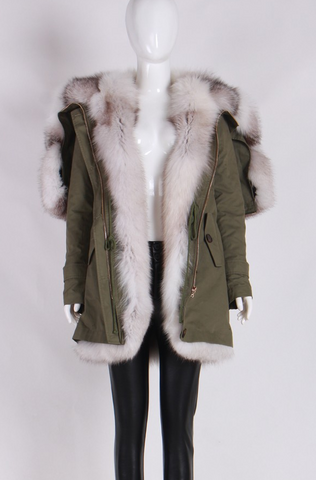 Slay Accessories. Luxury fox fur parka with fur split hood.