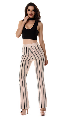 Slay Accessories. Geometric print bandage flare leg pants and crop top.