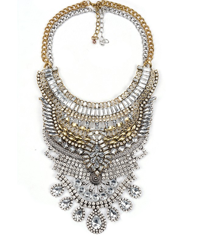 Slay Accessories. Gold and crystal metal statement necklace.