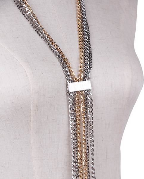 Slay Accessories. Gold and silver chain long necklace. Statement chain necklace.