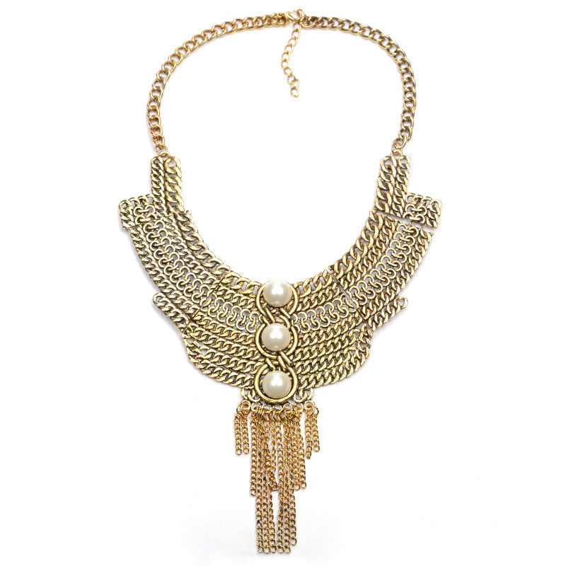 Pearl Chunky Chain and Fringes Pendant Bib Statement Necklace