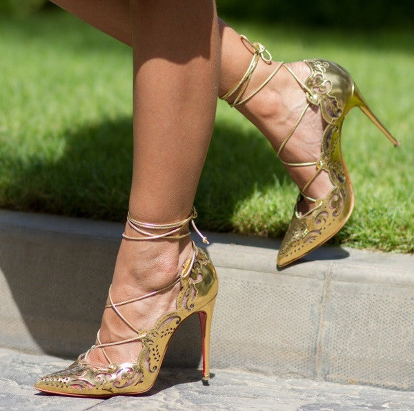 Bev Gold Cut Out Lace Up Leather Pumps