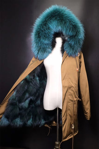 Slay Accessories. Gold parka with luxurious fur lining.