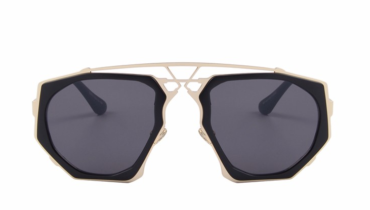 Ali Black Gold Geometric Sunglasses