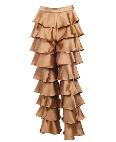Slay Accessories. Gold satin tiered pants. Satin tiered ruffled pants.