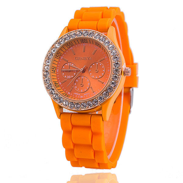 Colored Silicon Link Band Watch with Gold Tone Metal Rhinestones Face Women Crystal Jelly Wristwatch