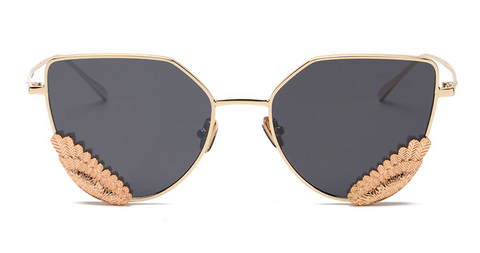 Slay Accessories. Gold wing metal cat eye sunglasses. Available in many lens colors.