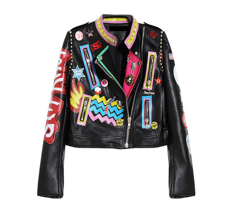 Slay Accessories. Colorful graffiti vegan leather motorcycle jacket.