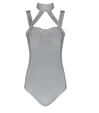 Slay Accessories gray bandage bodysuit. Criss cross sleeves choker neck design.