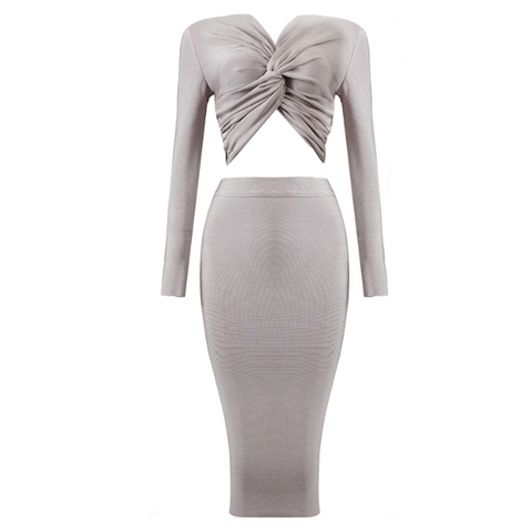 Slay Accessories. Gray bandage midi skirt set. Long sleeve crop top with front twist with bodycon midi skirt.