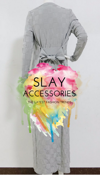Slay Accessories. Long gray bandage cardigan. Runway style cardigan and pants bandage set.