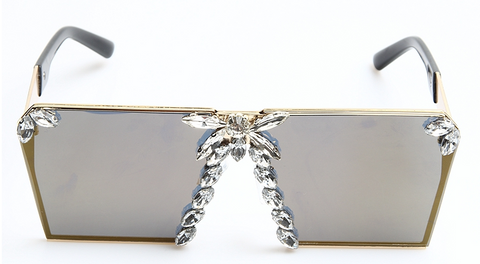 Slay Accessories. Crystal embellished square frame sunglasses.