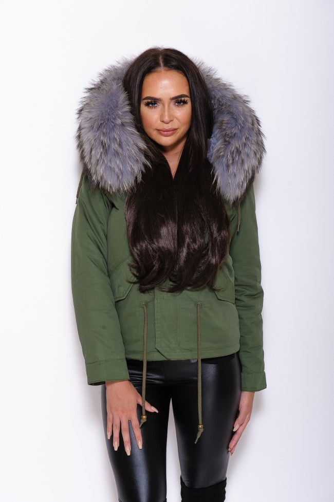 Gray Fur Collar Hood Parka Arm Green Jacket