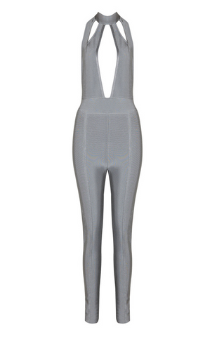Slay Accessories. Gray bandage jumpsuit. Body hugging jumpsuit with cutout details.