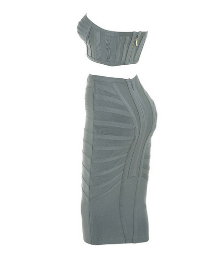 Slay Accessories. Gray bandage midi skirt and crop top.
