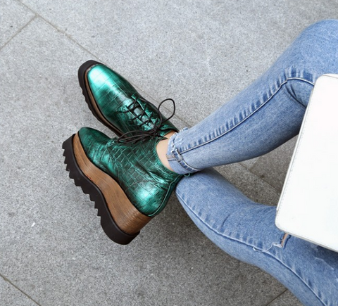 Centia Metallic Green Leather Brogues