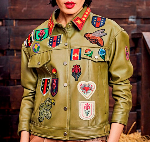 Slay Accessories. Bee and flowers Embroidered army green leather jacket.