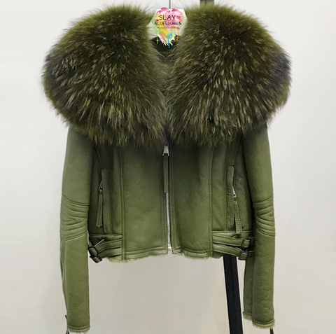 Slay Accessories. Green leather and fur motorcycle jacket. Sheepskin leather motorcycle jacket with fur collar.