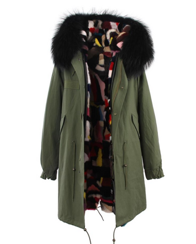 Slay Accessories. Long green fur parka with mink fur lining. Customized fur parka coat.