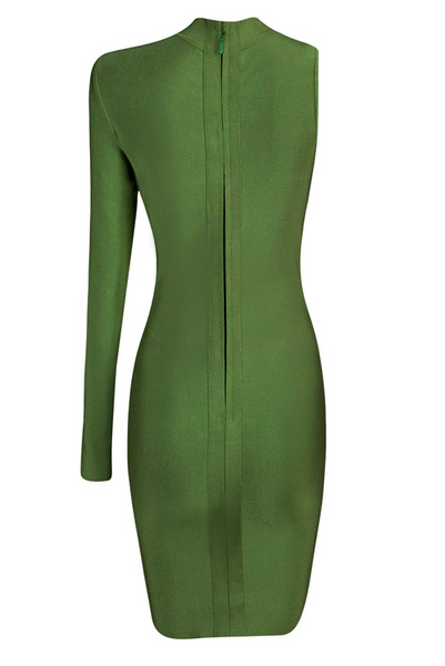 Venus Olive One Arm Mini Bandage Dress