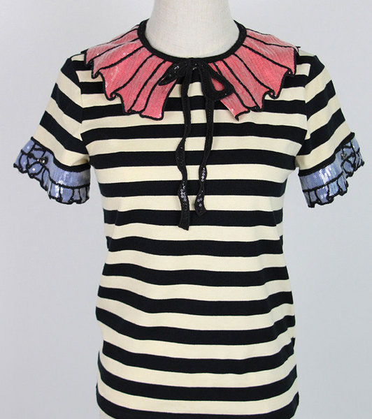 Hattia Stripe Sequin Top