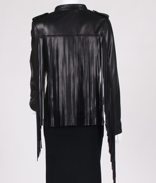 Jalisa Fringe Black Leather Biker Jacket