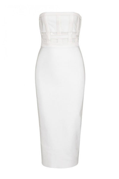 Janis White Leather Bandage Dress