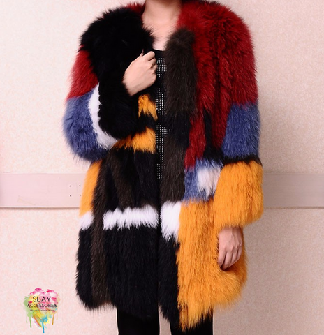 Slay Accessories. Colorful color block fur coat. Jungle colorful fur coat.