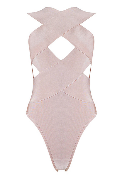 Slay Accessories. Nude criss cross bodysuit. Bandage criss cross bodysuit.
