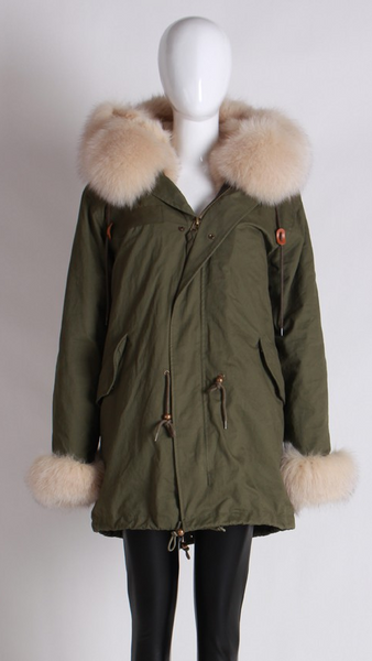 Karley Cream Fur Trimmed Fur Lining Parka Coat