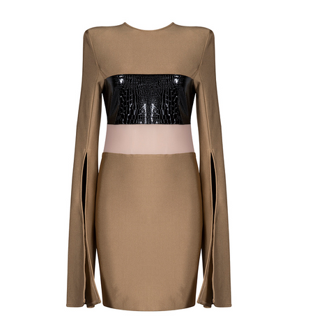 Slay Accessories. Khaki bandage mini dress with mesh and leather blocking.