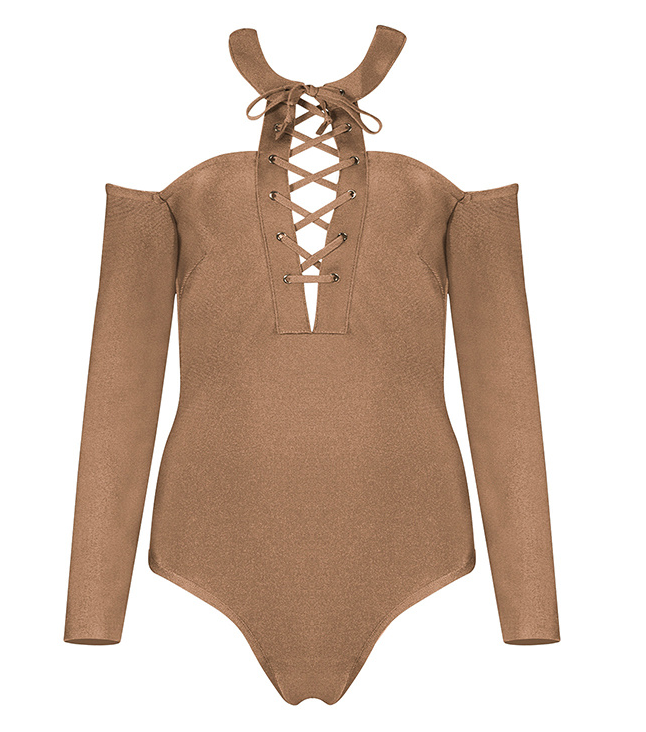 Slay Accessories. Khaki off the shoulder bodysuit. Off the shoulder bandage bodysuit.