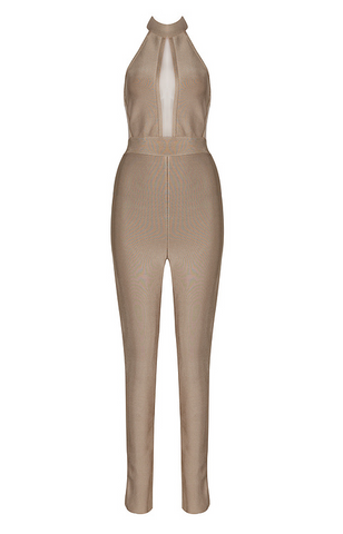 Slay Accessories. Khaki bandage jumpsuit with sheer panel and halter neck design.