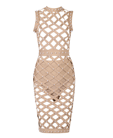 Slay Accessories bandage cage dress accented with pearls.