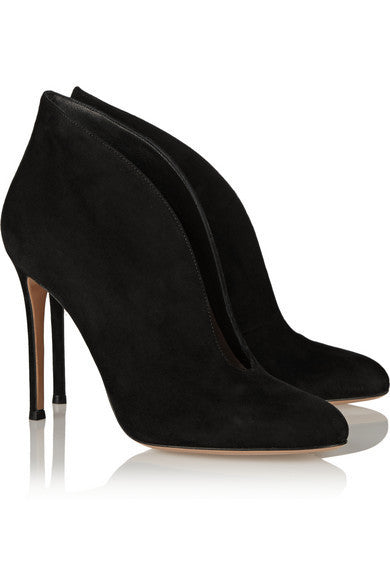 Kiona Black Suede Cut Out Booties