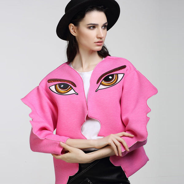 Slay Accessories. Embroidered face jacket. Chic pink sweater jacket.