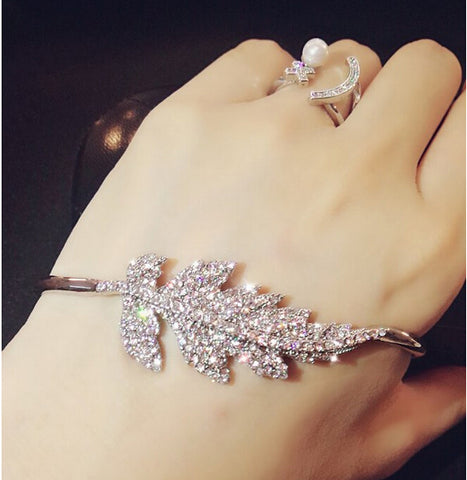 Crystal Silver Open Hand Palm Bangle Bracelet Cuff Ring
