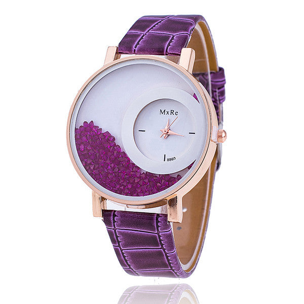 Fashion Embossed Leather Band Crystal Watch Free Fall Encased Rhinestones Wristwatch