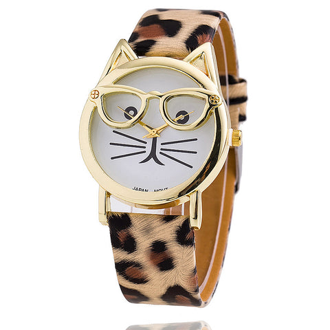 Fashion Cat Glasses Leather Band Watch Leopard Print Ladies Wristwatch