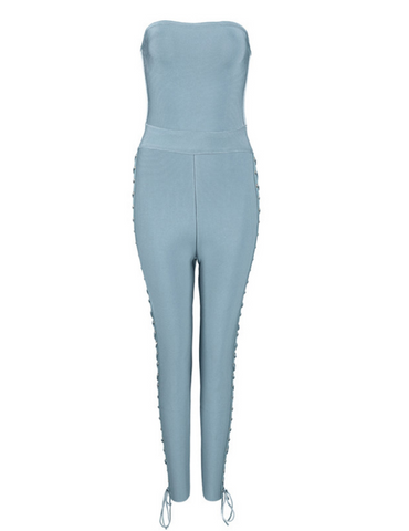 Slay Accessories. Pale blue strapless bandage jumpsuit with side tie up design.