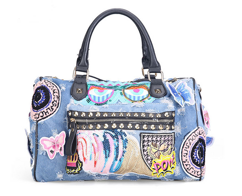 Slay Accessories distressed denim patchwork handbag