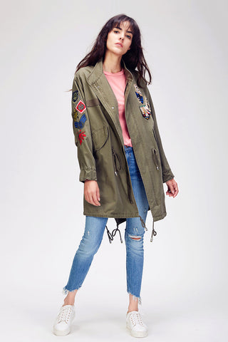 Slay Accessories.Patchwork embroidered parka jacket. Gorgeous long parka with patchwork embroidery.