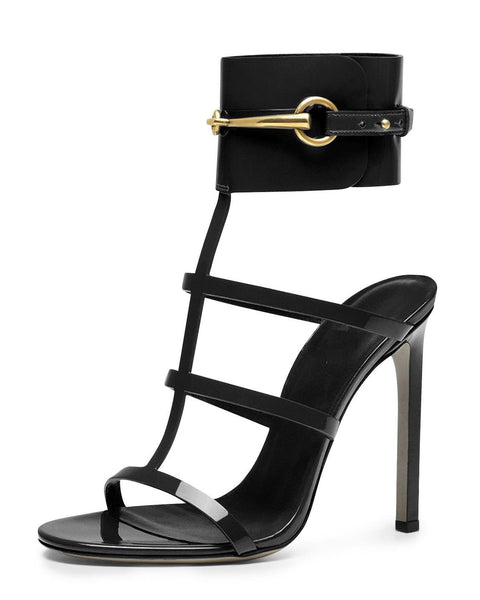 Lopez Black Patent Leather Sandals