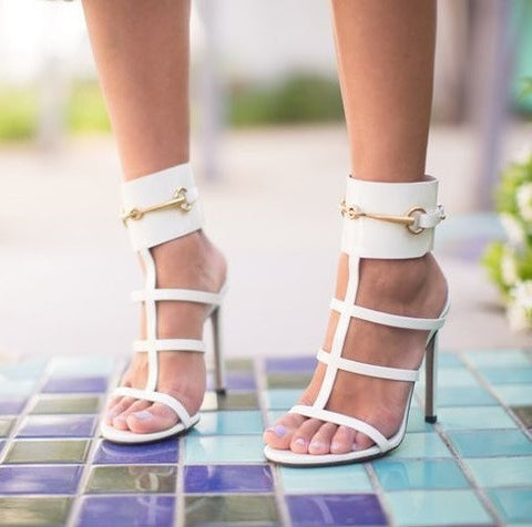 Lopez White Patent Leather Sandals